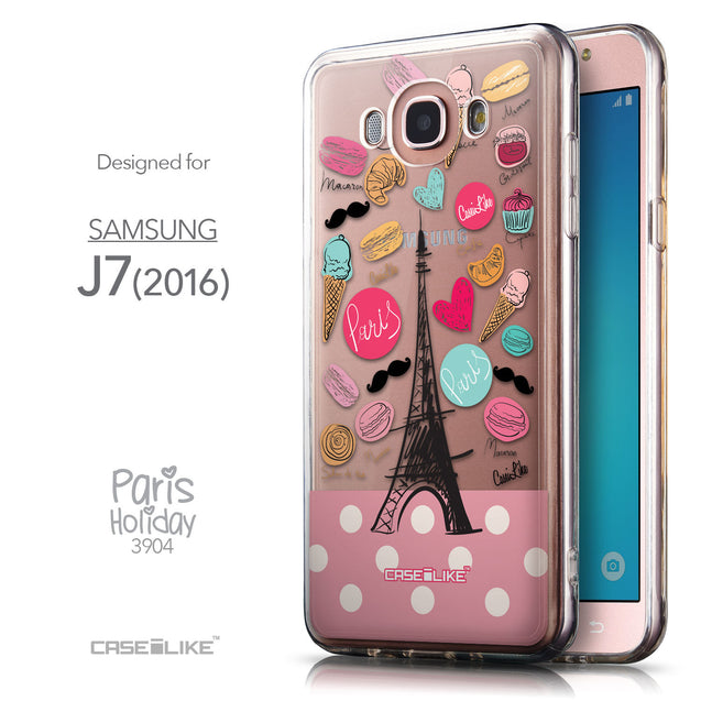 Front & Side View - CASEiLIKE Samsung Galaxy J7 (2016) back cover Paris Holiday 3904