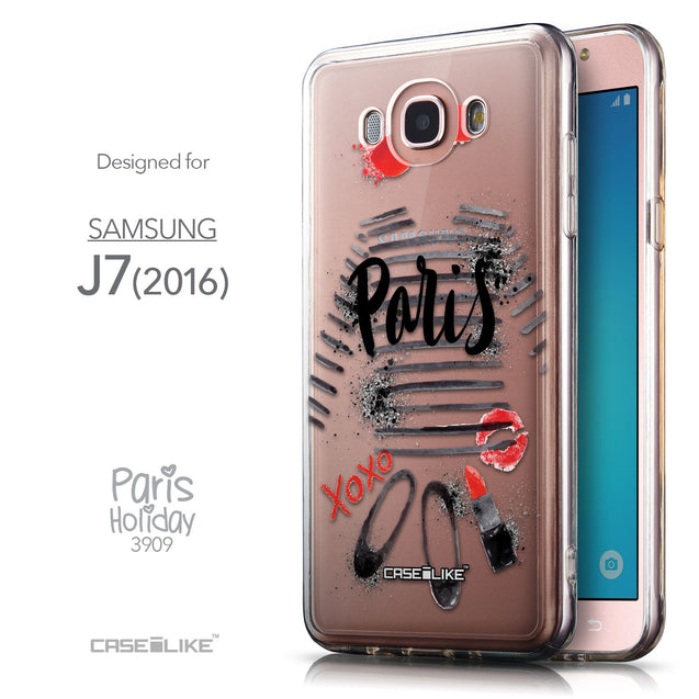Front & Side View - CASEiLIKE Samsung Galaxy J7 (2016) back cover Paris Holiday 3909