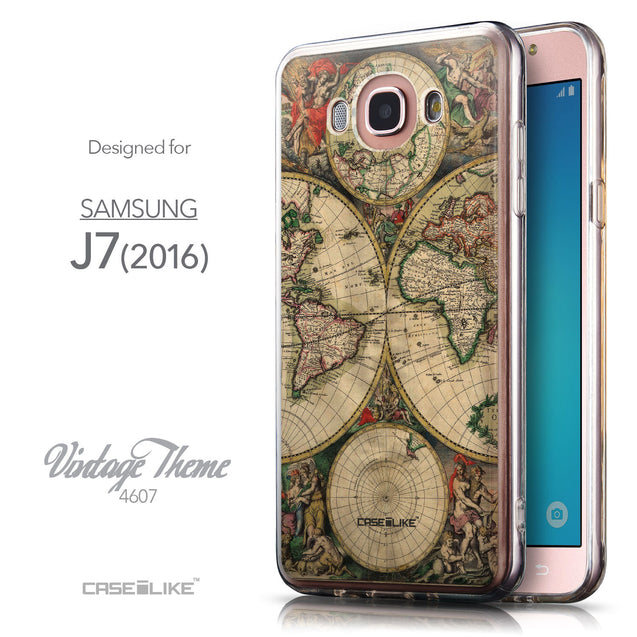 Front & Side View - CASEiLIKE Samsung Galaxy J7 (2016) back cover World Map Vintage 4607