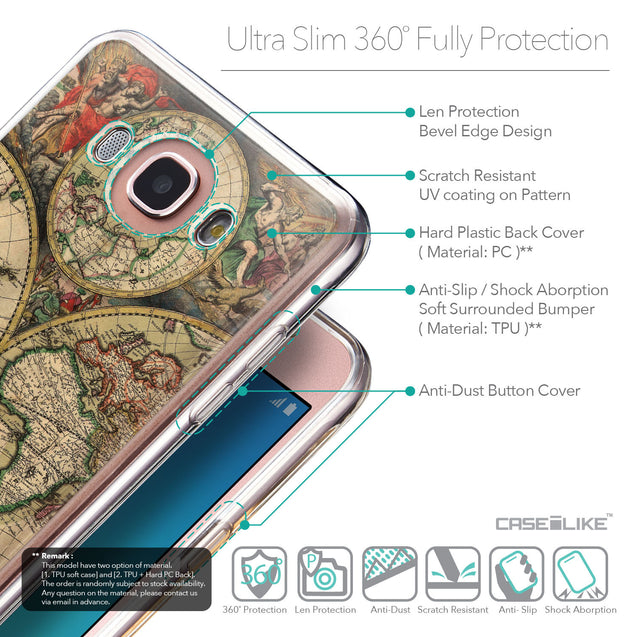 Details in English - CASEiLIKE Samsung Galaxy J7 (2016) back cover World Map Vintage 4607