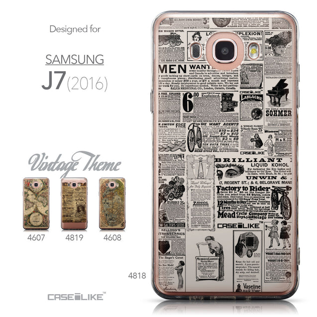 Collection - CASEiLIKE Samsung Galaxy J7 (2016) back cover Vintage Newspaper Advertising 4818