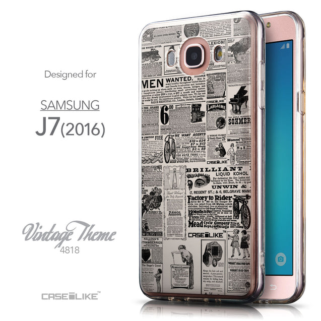 Front & Side View - CASEiLIKE Samsung Galaxy J7 (2016) back cover Vintage Newspaper Advertising 4818
