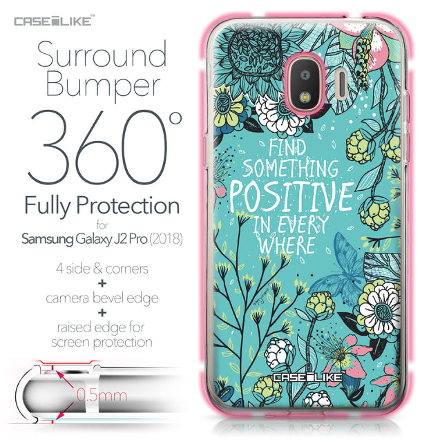 Samsung Galaxy J2 Pro (2018) case Blooming Flowers Turquoise 2249 Bumper Case Protection | CASEiLIKE.com