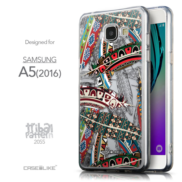 Front & Side View - CASEiLIKE Samsung Galaxy A5 (2016) back cover Indian Tribal Theme Pattern 2055