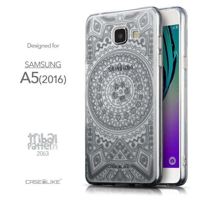 Front & Side View - CASEiLIKE Samsung Galaxy A5 (2016) back cover Indian Line Art 2063