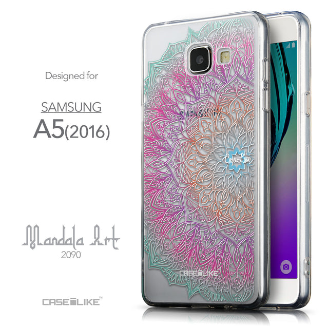 Front & Side View - CASEiLIKE Samsung Galaxy A5 (2016) back cover Mandala Art 2090