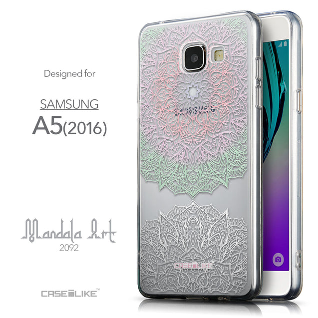 Front & Side View - CASEiLIKE Samsung Galaxy A5 (2016) back cover Mandala Art 2092