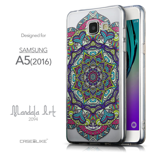 Front & Side View - CASEiLIKE Samsung Galaxy A5 (2016) back cover Mandala Art 2094
