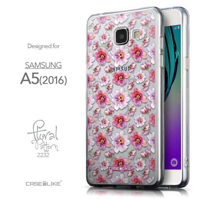 Front & Side View - CASEiLIKE Samsung Galaxy A5 (2016) back cover Watercolor Floral 2232