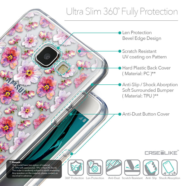 Details in English - CASEiLIKE Samsung Galaxy A5 (2016) back cover Watercolor Floral 2232