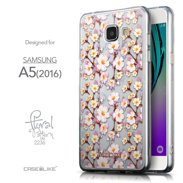 Front & Side View - CASEiLIKE Samsung Galaxy A5 (2016) back cover Watercolor Floral 2236