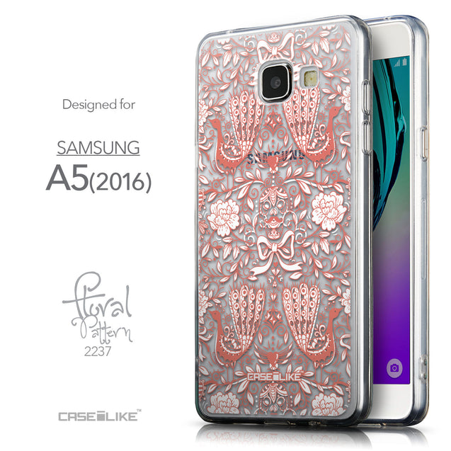 Front & Side View - CASEiLIKE Samsung Galaxy A5 (2016) back cover Roses Ornamental Skulls Peacocks 2237