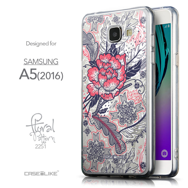 Front & Side View - CASEiLIKE Samsung Galaxy A5 (2016) back cover Vintage Roses and Feathers Beige 2251