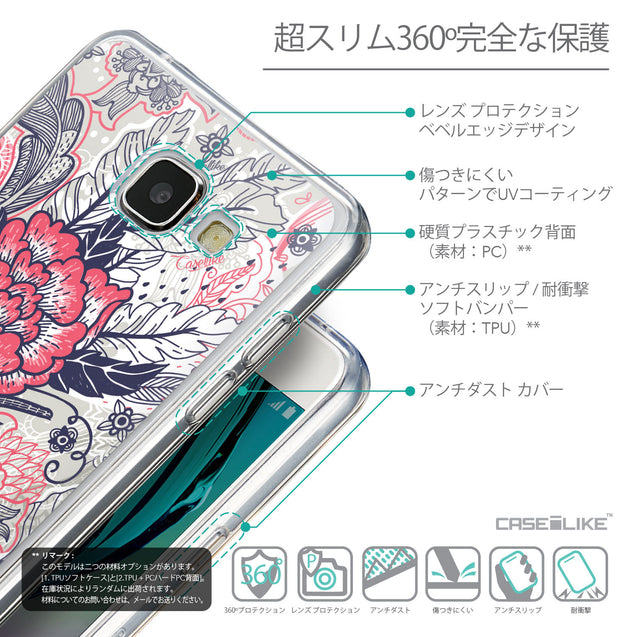 Details in Japanese - CASEiLIKE Samsung Galaxy A5 (2016) back cover Vintage Roses and Feathers Beige 2251