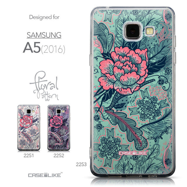 Collection - CASEiLIKE Samsung Galaxy A5 (2016) back cover Vintage Roses and Feathers Turquoise 2253