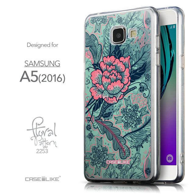 Front & Side View - CASEiLIKE Samsung Galaxy A5 (2016) back cover Vintage Roses and Feathers Turquoise 2253