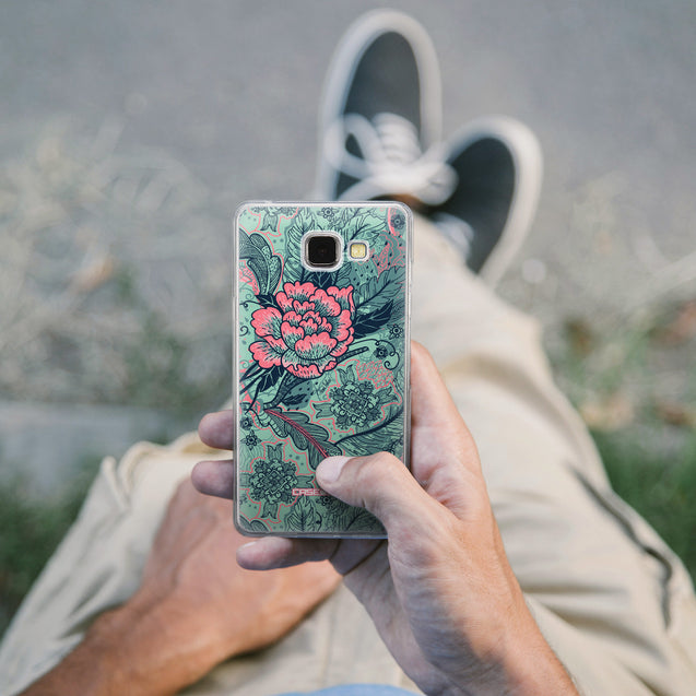 Share - CASEiLIKE Samsung Galaxy A5 (2016) back cover Vintage Roses and Feathers Turquoise 2253