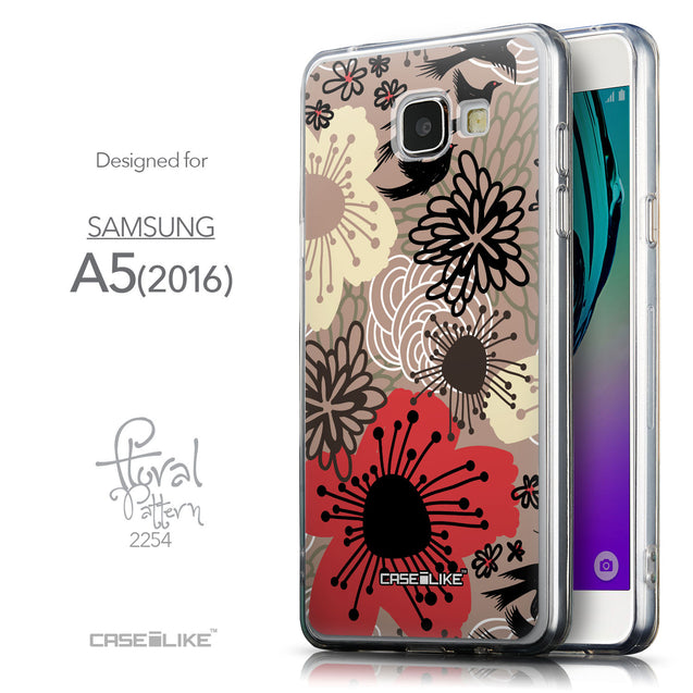 Front & Side View - CASEiLIKE Samsung Galaxy A5 (2016) back cover Japanese Floral 2254