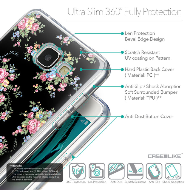 Details in English - CASEiLIKE Samsung Galaxy A5 (2016) back cover Floral Rose Classic 2261