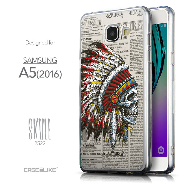 Front & Side View - CASEiLIKE Samsung Galaxy A5 (2016) back cover Art of Skull 2522