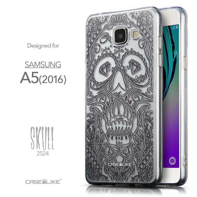 Front & Side View - CASEiLIKE Samsung Galaxy A5 (2016) back cover Art of Skull 2524
