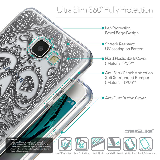 Details in English - CASEiLIKE Samsung Galaxy A5 (2016) back cover Art of Skull 2524