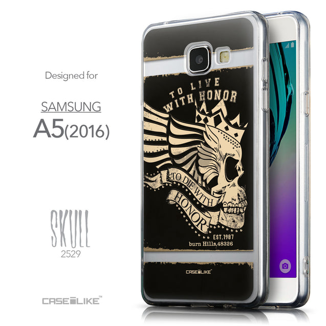Front & Side View - CASEiLIKE Samsung Galaxy A5 (2016) back cover Art of Skull 2529