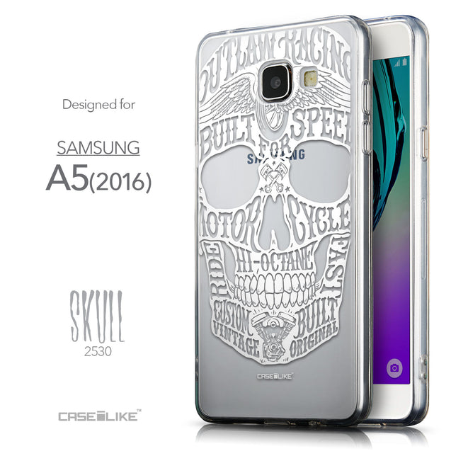 Front & Side View - CASEiLIKE Samsung Galaxy A5 (2016) back cover Art of Skull 2530