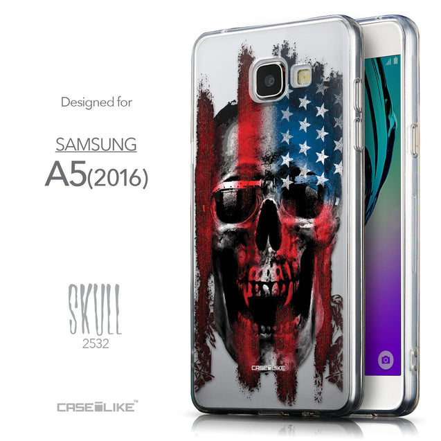 Front & Side View - CASEiLIKE Samsung Galaxy A5 (2016) back cover Art of Skull 2532
