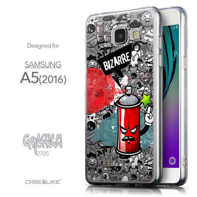 Front & Side View - CASEiLIKE Samsung Galaxy A5 (2016) back cover Graffiti 2705