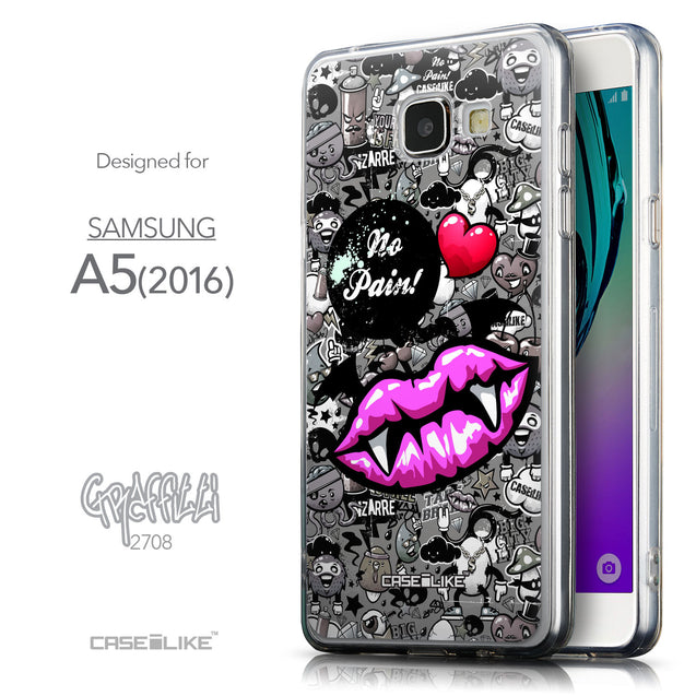 Front & Side View - CASEiLIKE Samsung Galaxy A5 (2016) back cover Graffiti 2708