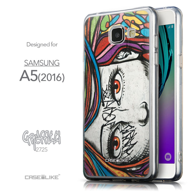 Front & Side View - CASEiLIKE Samsung Galaxy A5 (2016) back cover Graffiti Girl 2725