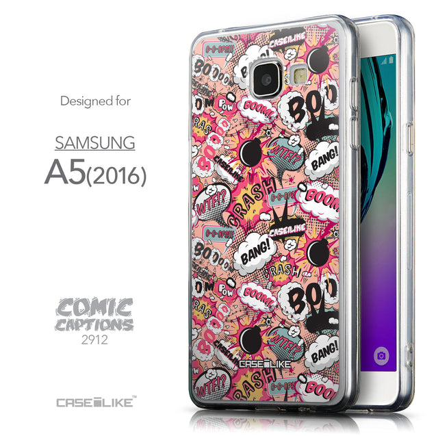 Front & Side View - CASEiLIKE Samsung Galaxy A5 (2016) back cover Comic Captions Pink 2912