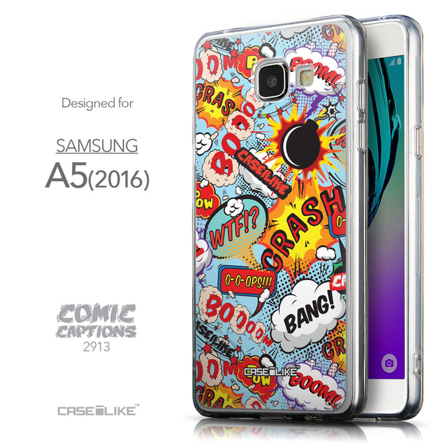 Front & Side View - CASEiLIKE Samsung Galaxy A5 (2016) back cover Comic Captions Blue 2913