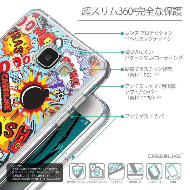 Details in Japanese - CASEiLIKE Samsung Galaxy A5 (2016) back cover Comic Captions Blue 2913