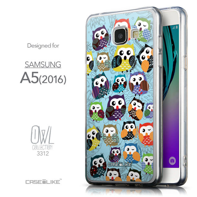 Front & Side View - CASEiLIKE Samsung Galaxy A5 (2016) back cover Owl Graphic Design 3312
