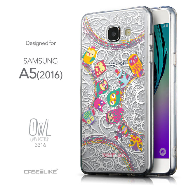 Front & Side View - CASEiLIKE Samsung Galaxy A5 (2016) back cover Owl Graphic Design 3316