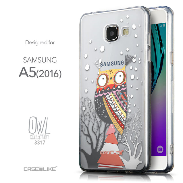 Front & Side View - CASEiLIKE Samsung Galaxy A5 (2016) back cover Owl Graphic Design 3317