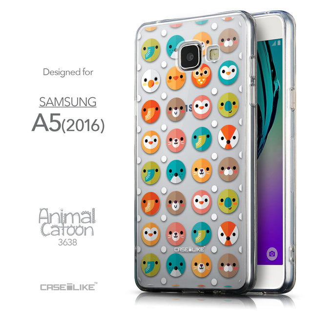 Front & Side View - CASEiLIKE Samsung Galaxy A5 (2016) back cover Animal Cartoon 3638