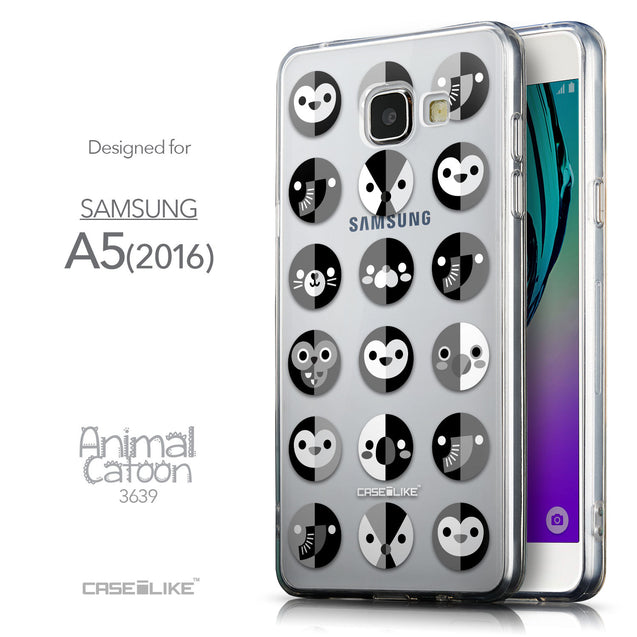 Front & Side View - CASEiLIKE Samsung Galaxy A5 (2016) back cover Animal Cartoon 3639