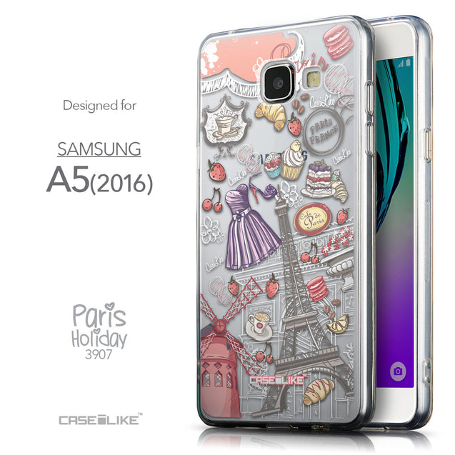 Front & Side View - CASEiLIKE Samsung Galaxy A5 (2016) back cover Paris Holiday 3907