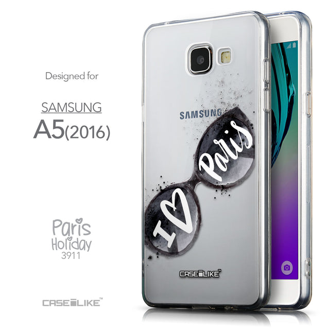 Front & Side View - CASEiLIKE Samsung Galaxy A5 (2016) back cover Paris Holiday 3911