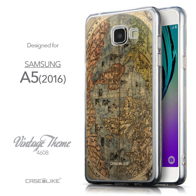 Front & Side View - CASEiLIKE Samsung Galaxy A5 (2016) back cover World Map Vintage 4608