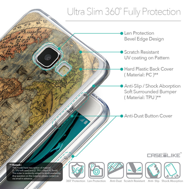 Details in English - CASEiLIKE Samsung Galaxy A5 (2016) back cover World Map Vintage 4608