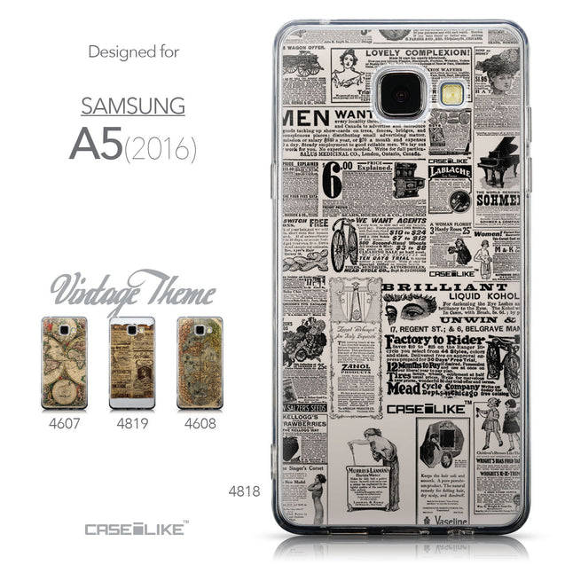 Collection - CASEiLIKE Samsung Galaxy A5 (2016) back cover Vintage Newspaper Advertising 4818