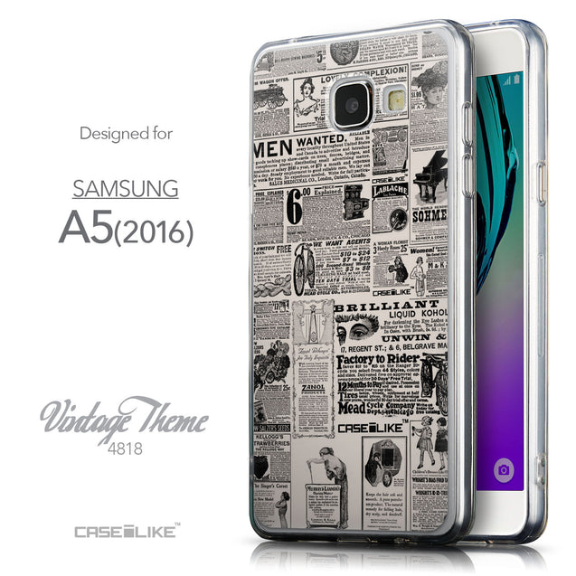 Front & Side View - CASEiLIKE Samsung Galaxy A5 (2016) back cover Vintage Newspaper Advertising 4818