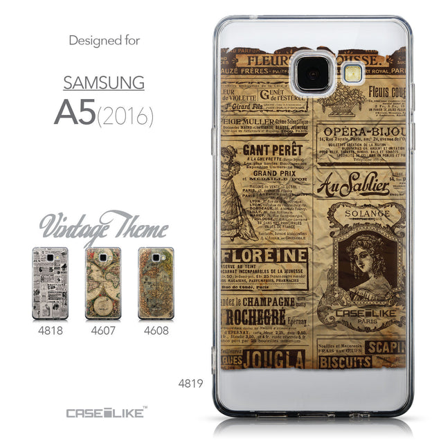 Collection - CASEiLIKE Samsung Galaxy A5 (2016) back cover Vintage Newspaper Advertising 4819