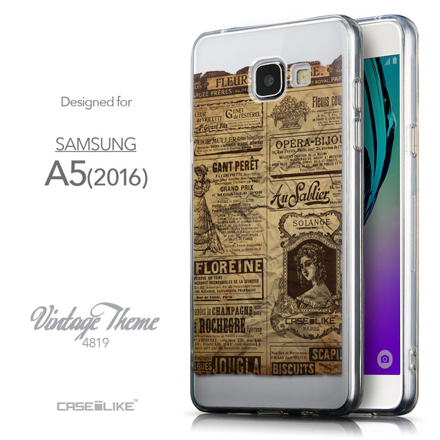 Front & Side View - CASEiLIKE Samsung Galaxy A5 (2016) back cover Vintage Newspaper Advertising 4819