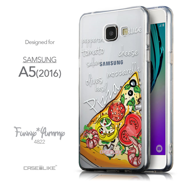 Front & Side View - CASEiLIKE Samsung Galaxy A5 (2016) back cover Pizza 4822