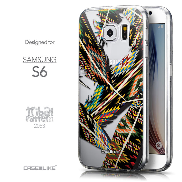 Front & Side View - CASEiLIKE Samsung Galaxy S6 back cover Indian Tribal Theme Pattern 2053
